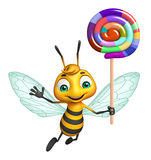 Bee cartoon character with lollypop Stock Photography