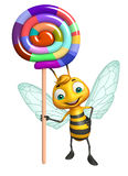 Bee cartoon character with lollypop Royalty Free Stock Photos