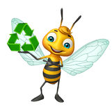Bee cartoon character with recycle sign. 3d rendered illustration of Bee cartoon character with recycle sign Stock Photo