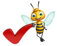 Bee cartoon character with right sign Royalty Free Stock Photo