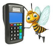 Bee cartoon character with swap machine Stock Photography
