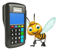 Bee cartoon character with swap machine. 3d rendered illustration of Bee cartoon character with swap machine Stock Photo