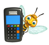 Bee cartoon character with swap machine Royalty Free Stock Photography