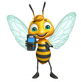 Bee cartoon character with swap machine Royalty Free Stock Photos