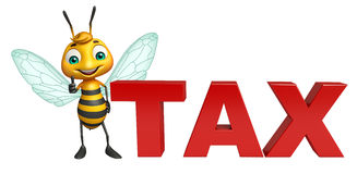 Bee cartoon character with tax sign. 3d rendered illustration of Bee cartoon character with tax sign Royalty Free Stock Images