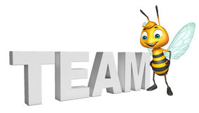Bee cartoon character with team sign. 3d rendered illustration of Bee cartoon character with team sign Royalty Free Stock Images