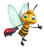 Bee cartoon character with travel bag Royalty Free Stock Photos
