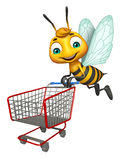 Bee cartoon character with trolly Royalty Free Stock Photos