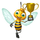 Bee cartoon character with winning cup Royalty Free Stock Image