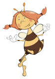 Bee. Cartoon. The cheerful bee with red plaits Royalty Free Stock Image