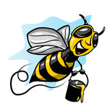 Bee. Cartoon bee flying and smiling stock illustration