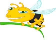 Bee cartoon holding tree Royalty Free Stock Images