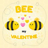 Bee cartoon of love festival valentines day banner. Bee cartoon of love festival, valentines day banner concept vector design stock illustration