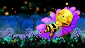 Bee cartoon sleeping on flowers and beautiful night