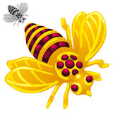 Bee in cartoon style on white background Royalty Free Stock Photo
