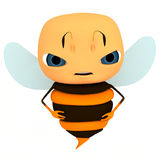 Bee character. The render angry bee character stock illustration