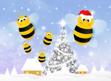 Bee at Christmas. Illustration of bee at Christmas royalty free illustration
