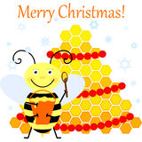 Bee and Christmas tree Royalty Free Stock Photography