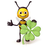 Bee with clover Royalty Free Stock Image