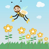 The bee collect the coin for saving Royalty Free Stock Photos