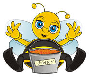 Bee collect a honey. Smiling bee sit near a complete bucket of honey and raise up his paws vector illustration