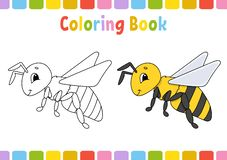 Bee. Coloring book for kids. Cheerful character. Vector illustration. Cute cartoon style. Hand drawn. Fantasy page for children. Coloring book for kids stock illustration