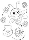 Bee coloring page Royalty Free Stock Photo