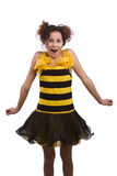 Bee costumes woman looking surprised. Royalty Free Stock Photos