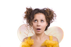 Bee costumes woman looking surprised. Stock Photography
