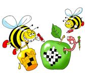 Bee and a crossword puzzle Stock Image