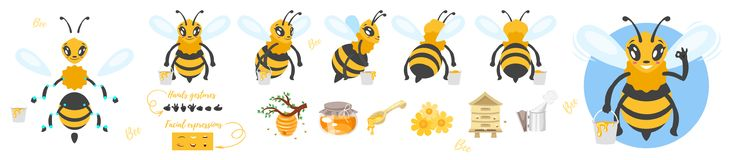 Bee cute character for animation. Vector cartoon style bee cute character for animation. Different emotions, hands gestures and beekeeping symbols. Isolated on Stock Image