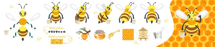 Bee cute character for animation. Vector cartoon style bee cute character for animation. Different emotions and beekeeping symbols and pattern. Isolated on white Royalty Free Stock Photography