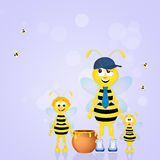 Bee dad with honey Royalty Free Stock Images