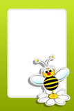 Bee with daisy and blank frame Stock Photos