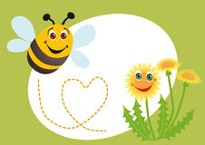Bee and dandelion. A happy bee confesses in love a dandelion Royalty Free Stock Image