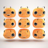 Bee. Different emotions 3d model bee Royalty Free Stock Photography