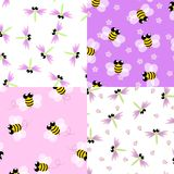 Bee and Dragonfly seamless pattern set royalty free illustration