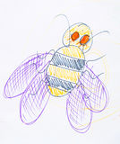 Bee drawn in pencil Stock Images