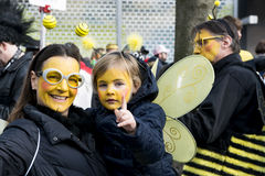 Bee family on Carnival in Dusseldorf royalty free stock photo