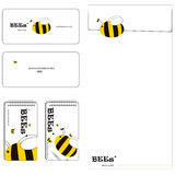 Bee family stationery set. Cute bees family stationery set. they fly to seek the honey Royalty Free Stock Images