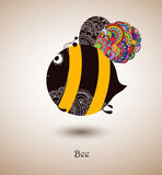 Bee. Fantastic bee patterned wings, light background, illustration royalty free illustration