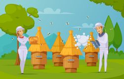 Bee Farm Honey Collecting cartoon. Bee farm apiary honey harvesting cartoon composition poster with beekeepers using smoker and holding honeycombs vector royalty free illustration