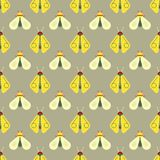 Bee and firefly seamless pattern. Horizontal orderly design for background Stock Photos