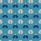 Bee and firefly seamless pattern. Horizontal orderly design for background Royalty Free Stock Photo