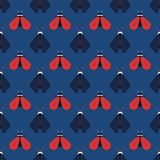 Bee and firefly seamless pattern. Horizontal orderly design for background Stock Photo