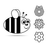 Flight honeybee with smile and different flowers. Bee flat icon, outline cartoon illustration design for children coloring book. Flight honeybee with smile and Royalty Free Stock Images