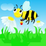 Bee on the meadow collects honey - vector illustration, eps vector illustration
