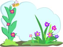 Bee with Floral Text Cloud Stock Image