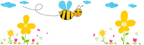 Bee. Flores en primavera.Very cute, shy and smiling bee.-Paths Stock Photos