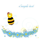 Bee_flower. Bee and flower.Illustrations for  childrens Stock Photos